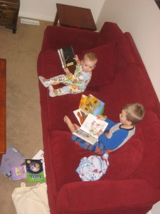 I caught this picture of my boys reading library books when they were 10 months and 3 1/2. They love going to the library and reading!