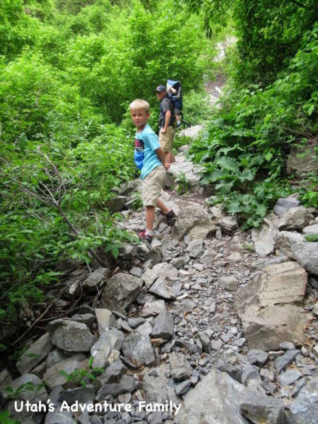 The trail is very steep and rocky the entire way.