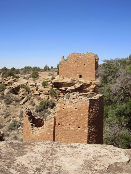 Two Towers over canyon at Hovenweep