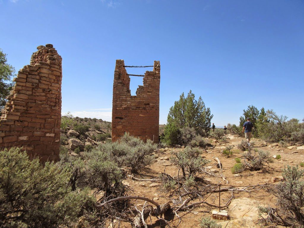 Wood beams that still remain in Tower in Hovenweep National Monument