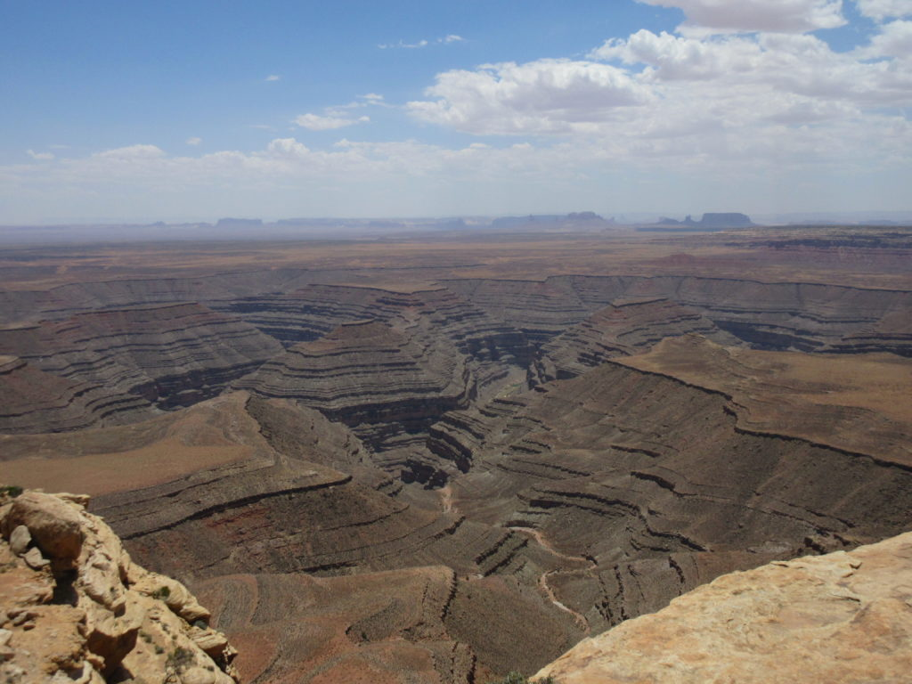 There are some great views at Muley Point. Here are the Goosenecks with Monument Valley way off in the distance.