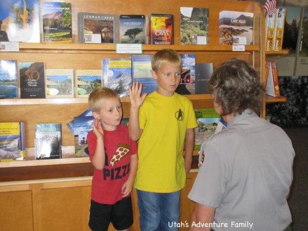 Kids being sworn in as Junior Rangers at Great Basin.