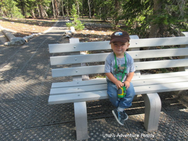 The trail is flat and stroller friendly. There are also lots of benches along the way for a quick rest.