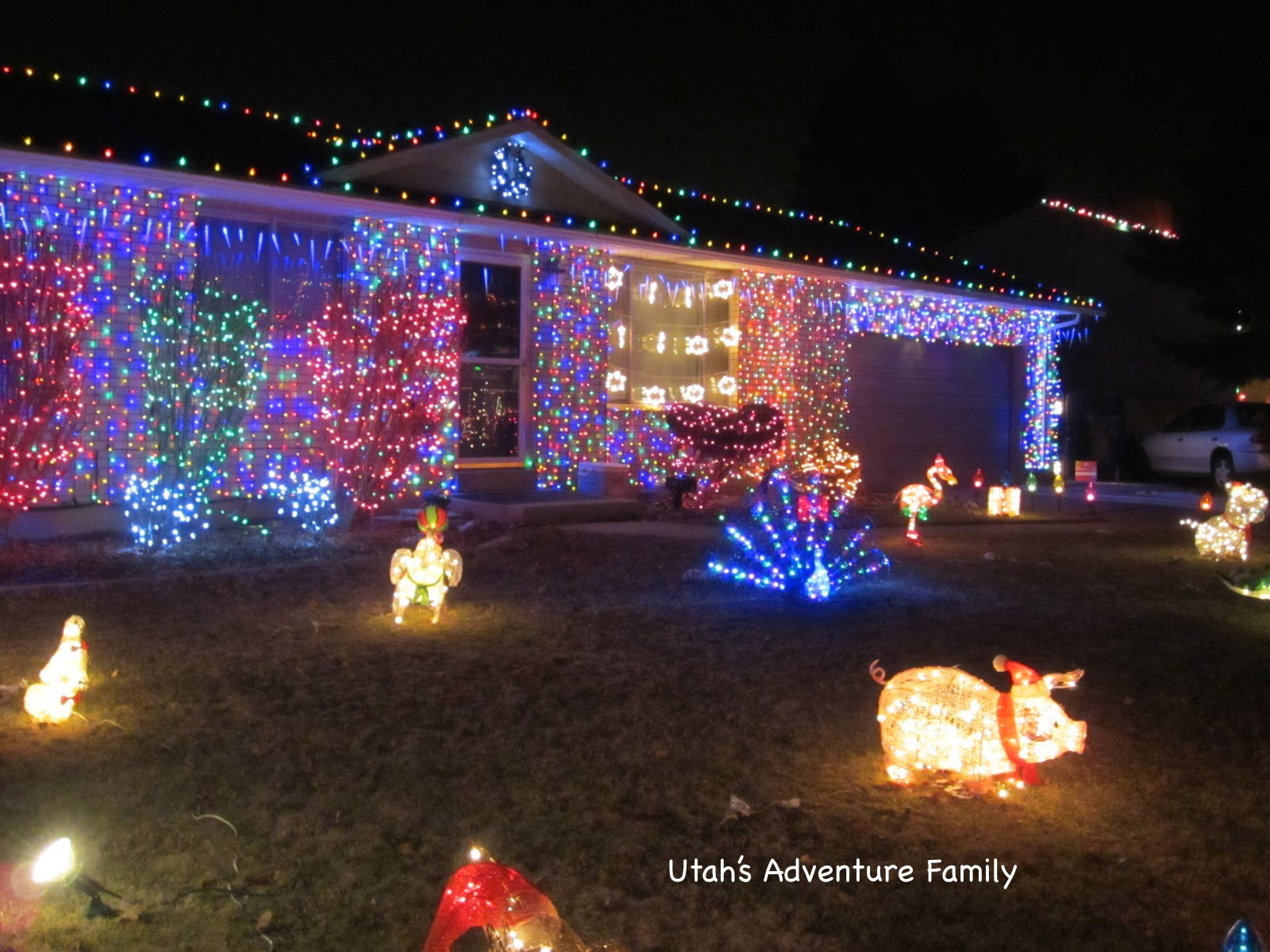 a house with lights set to music