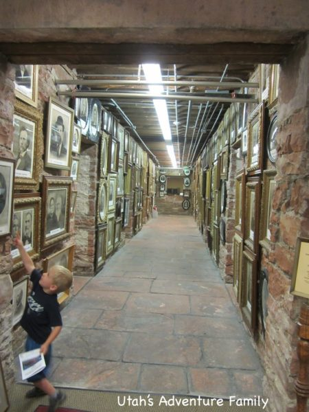 The wall of photos in Territorial Statehouse State Park Museum