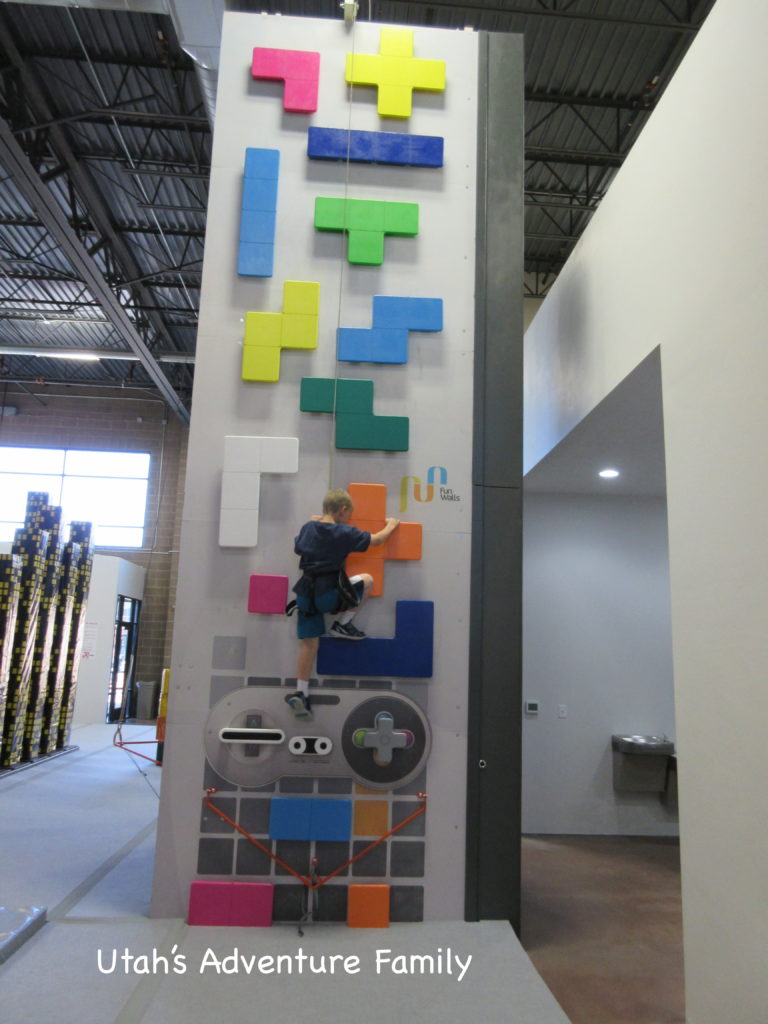 We really liked this old school Tetris wall!