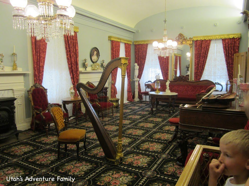 A music room. These curtains are matched to a swatch of fabric saved by one of Brigham Young's wives.