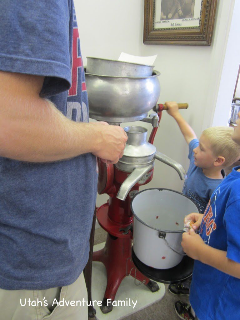 The boys got to try out the milk separator.