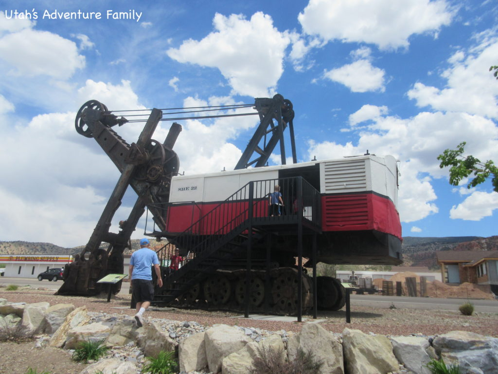 The old mining tractor is right out front and you can climb up and go inside.