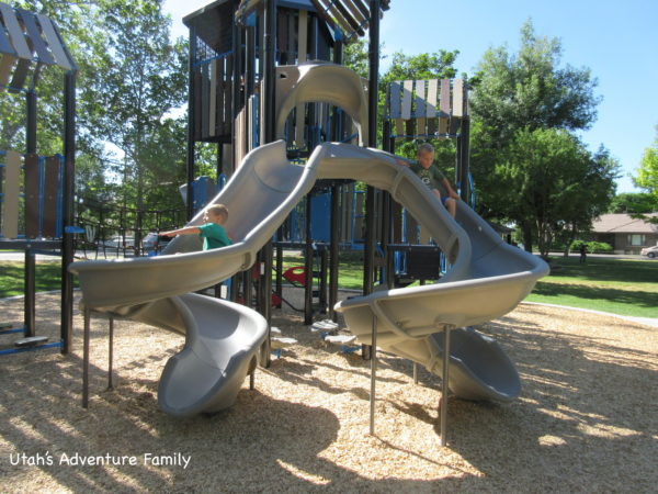 The new playground at Wines Park has lots of slides.
