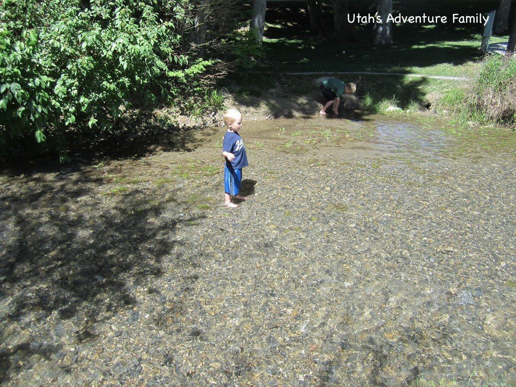 Our 4 year-old in the water. See how it's just up to his ankles?