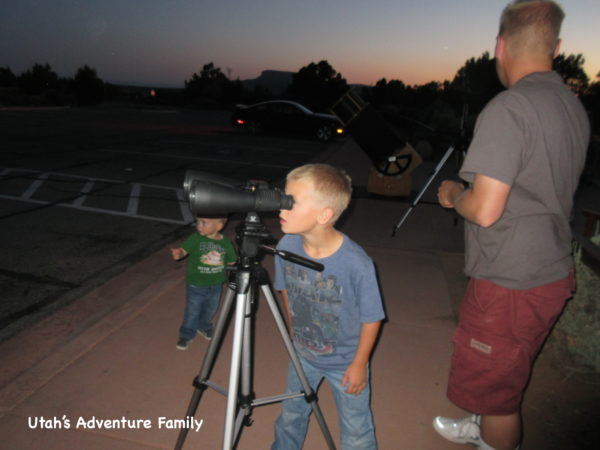 We looked through binoculars as well as the telescope that the ranger had set up.