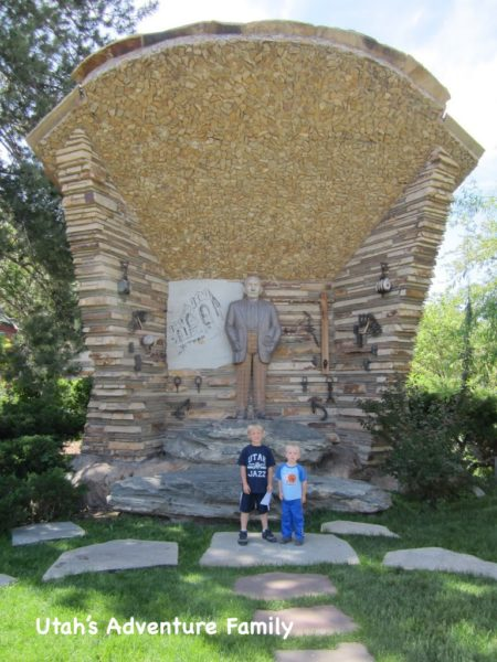 This sculpture remembers the Salt Lake 10th Ward when Thomas Child (the founder of Gilgal Gardens) was the bishop.