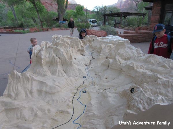There are some cool displays at the Visitor's Center, including this large relief map of Zion Canyon.