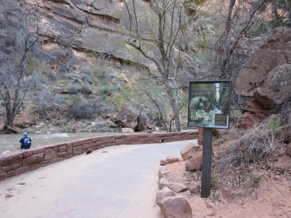 This is the end of the hike with the paved trail. If you want to continue, you must enter the river.