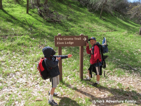 This sign marks the beginning of The Grotto Trail.