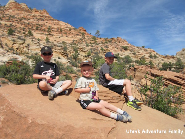 We had a snack for the end of the trail and enjoyed it on the rocks at the end of the Canyon Overlook Trail.