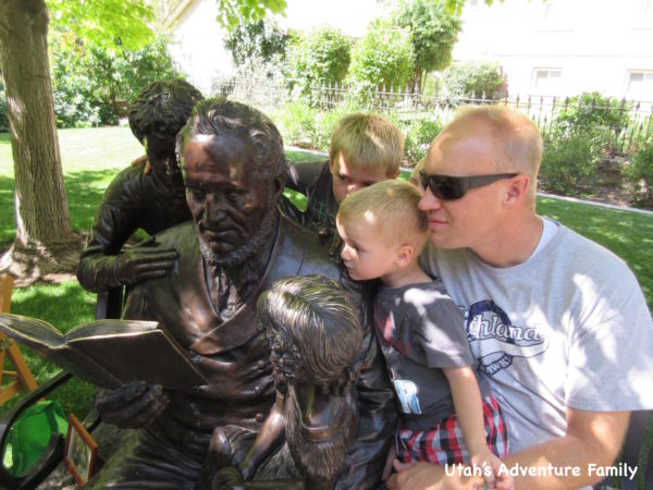We liked sitting on the bench with Brigham Young's Statue.