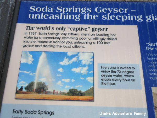 There are information signs about the geyser.