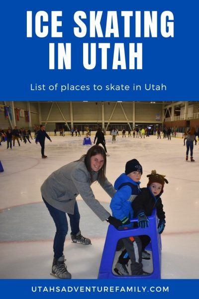 Mom ice skating with her children.