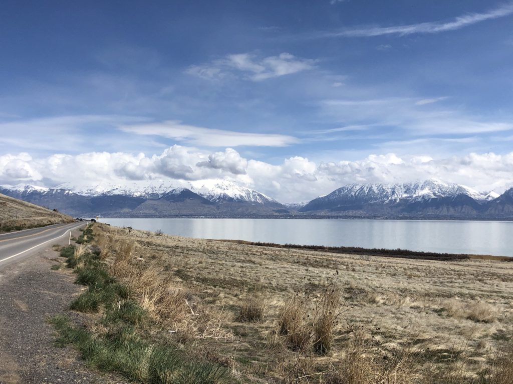 view of Utah Lake on the west side looking at the mountains.