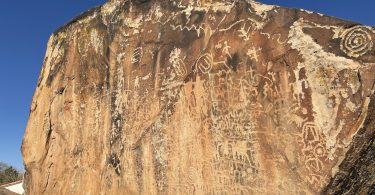 petroglyphs on large rock