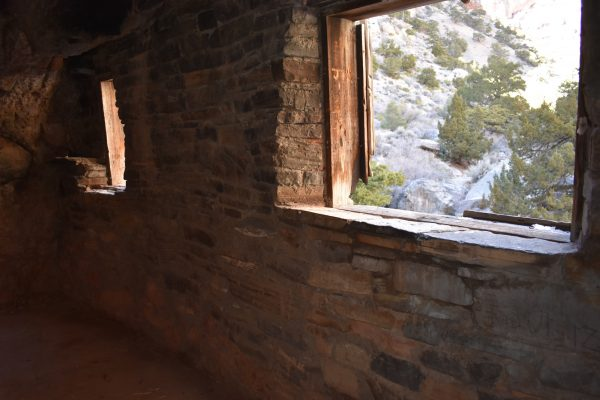 Two windows in Hermit's Cabin