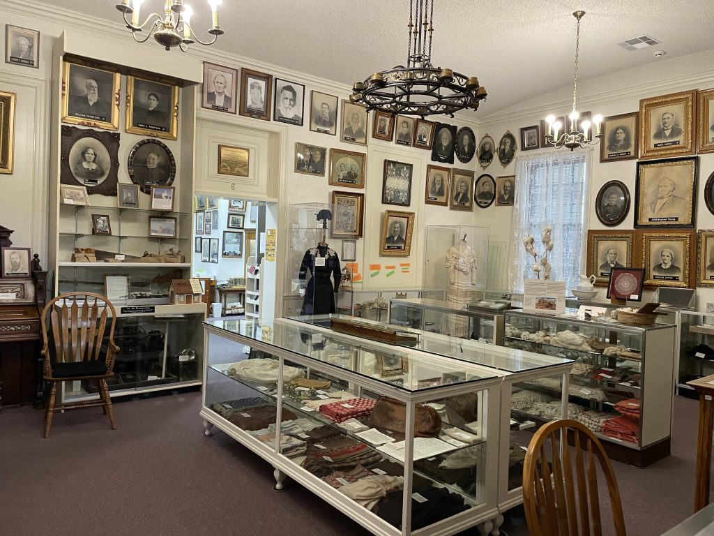 large room with pioneer artifacts in the St. George DUP