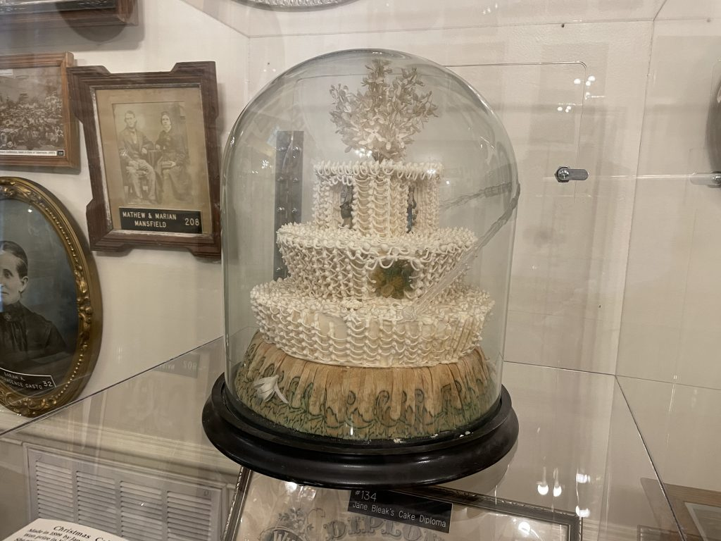 an old cake on display in the St. George DUP museum
