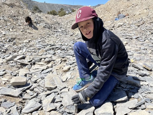 Child holding a rock in a rock quarry.