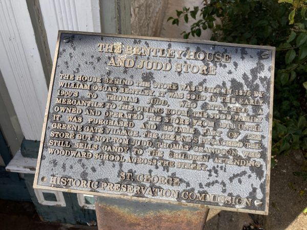 historical sign outside Judd's store in St. George